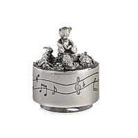 Teddy and Friends Pewter Musical Carousel