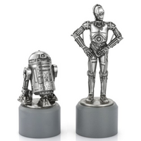 Star Wars Pewter R2-D2 & C-3PO Knight Chess Piece Pair