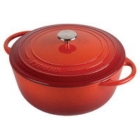 PyroChef 24cm/4litre Red Enamelled Cast Iron Tall Casserole