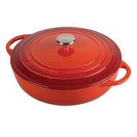 PyroChef Red 24cm/2.5litre Cast Iron Chef's Pan