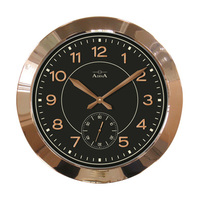 Wall Clock Large Rose Gold Case Black Face Quartz Operated Rose Gold Arabic Numerals with Chronograph Silent Second Hand 51.5cm Diameter CL12-A2404