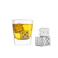 Set of 4 Stainless Steel Dice Whiskey Stones