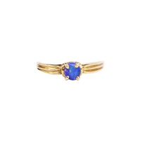 Solid Blue Opal Claw Set Ring
