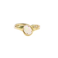 Oval White Solid Opal and Diamonds Dress Ring