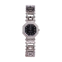 Ladies 'Kensington' Stainless Steel Black Faced Hexagonal Stone Set 50 Metre Water Resistant Dress Watch -200244S2XB
