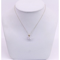 9 Carat Yellow and White Gold Princess Cut Cubic Zirconia Pendant