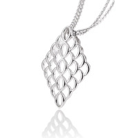 Sterling Silver Rhodium Plated Polished Diamond Shaped Honeycomb Interlocking Link Pendant with Silver Plated Chain