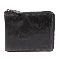 Vintage Bi-fold Zip Around Charcoal Leather Wallet