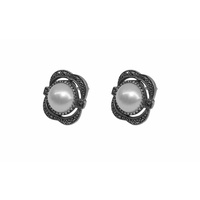 Sterling Silver, Marcasite and Mabe Pearl Stud Earrings