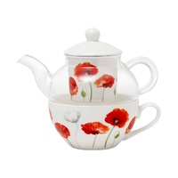 Poppies AWM New Bone China & Glass Tea For One