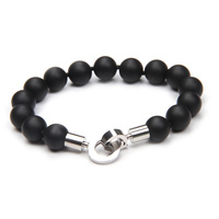 Stainless Steel Black Agate Gents Bracelet