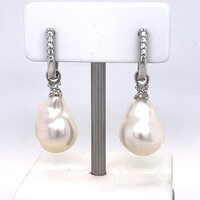 Sterling Silver, Baroque Freshwater Pearl with Cubic Zirconia Huggie Drop Earrings
