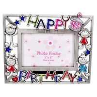 Happy Birthday Enameled Glitter Photo Frame