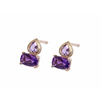 9 Carat Yellow Gold Purple and Pink Amethyst Stud Earrings