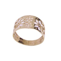 Open Cut Out Tapered Flower Design Ring