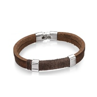 Men's Leather and Army Green Cotton Cord Bracelet with Stainless Steel Clasp