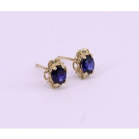 9 Carat Yellow Gold Blue Sapphire Claw Set Stud Earrings (Pair)