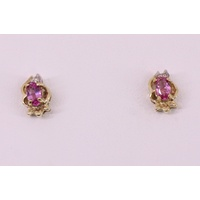 9 carat Yellow Gold Pink Cubic Zirconia Stud Earrings
