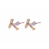 9 Carat Yellow Gold  and Diamond Stud Earrings