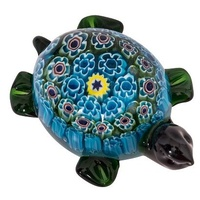 Coloured Miniature Glass Turtle Ornament 'Kurma'