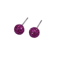 Fushia Pink Crystal Ball Stud Earrings
