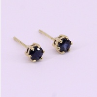 9 Carat Yellow Gold Blue Sapphire Stud Earrings (Pair)