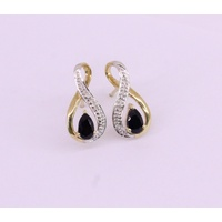 9 Carat Yellow Gold Pear Shaped Natural Blue Sapphire and Diamond Earrings