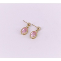 9 Carat Yellow Gold Pink Cubic Zirconia Oval Drop Earrings