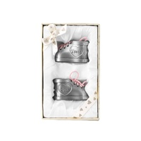 Babies First Tooth and Curl Booties with Pink Shoe Laces in a Pewter Finish