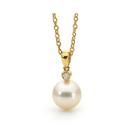 Yellow South Sea and Diamond Drop Pearl Pendant