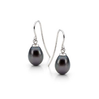 Black 7.5-8mm Freshwater Pearl Earring Sterling Silver Shepherd Hooks