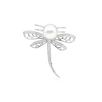 Sterling Silver, White Freshwater Pearl and Cubic Zirconia Dragonfly Brooch