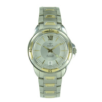 Gents 'Oceaneer' 100 Metres Stainless Steel Two Tone Silver Dial with Date Dress Watch - NK96T1XB