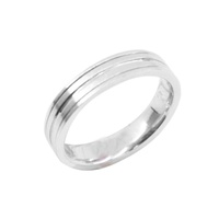 Polished & Brushed Silver Men's Ring