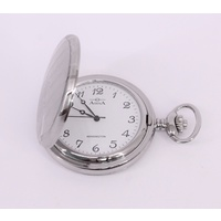'Kensington' Covered Pocket Watch Polished Stainless Steel Case PW5636 D1FP