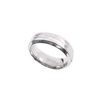 Hammered Satin Finish with Polished Edge Gents Ring