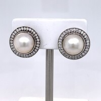 Cubic Zirconia's with Mabe Pearl Stud Earrings