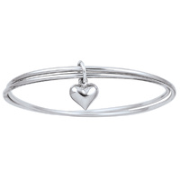 Twin Bangles with Heart Charm