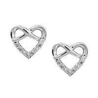 Infinity Heart Studs with Diamonds in 9 Carat White Gold