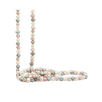 Muti White, Grey and Pink Keshi Baroque Freshwater Pearl Strand 120cm