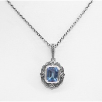 Sterling Silver Marcasite and Blue Topaz Pendant