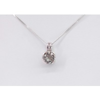 Mint Quartz with Cubic Zirconia set Sterling Silver Pendant