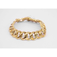 Yellow Gold Plated Large Men's Round Flat Curb Bracelet
