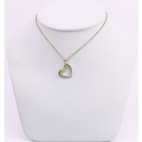 9 Carat Yellow Gold Cubic Zirconia Heart Pendant