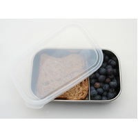 Stainless Steel Rectangular container with Dividers - Clear