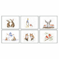 Wrendale Designs Pack of 6 Assorted Christmas Motifs Cork Backed Placemats