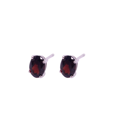 9 Carat White Gold and Garnet Stud Earrings
