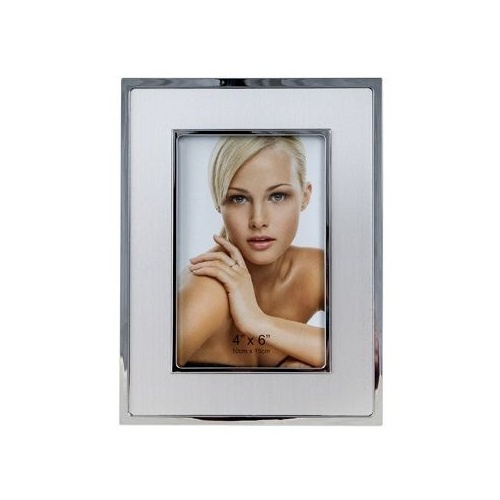 "Executive Style Chrome Plated with a Satin and Polished Look 10 x 15cm (4 x 6"") Photo Frame"