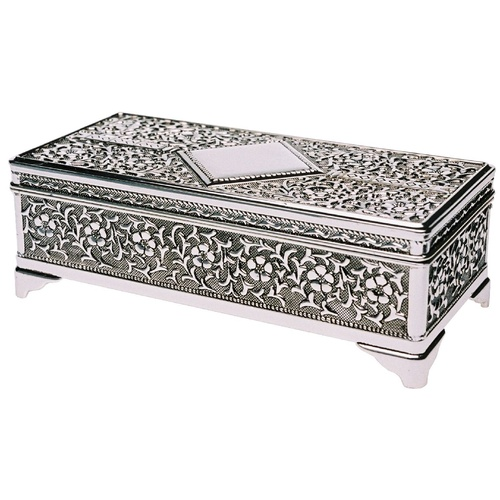 Small Rectangular Silver Plated Floral Design Jewellery Box